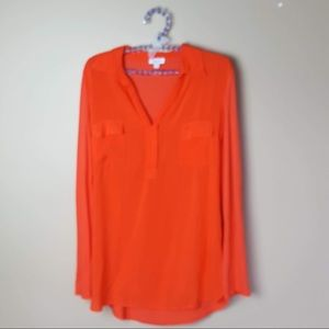 Splendid orange long sleeve v neck blouse size XS